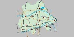 Kleiner Kartenausschnitt Emscher-Lippe-Region