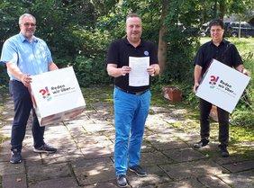 Es zeigt von links nach rechts: Benno Portmann (Stellvertretender Vorsitzender CDU Kreis Recklinghausen), Mark Rosendahl (Geschäftsführer DGB Emscher-Lippe), Bodo Klimpel (Landratskandidat von CDU und FDP)
