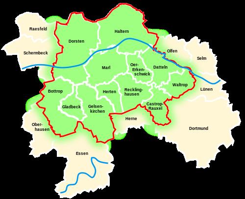 Karte der Region Emscher-Lpiie